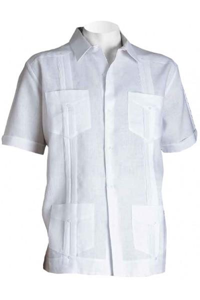 Men's 100% Linen S/S Shirt by Inserch / Merc - White / Pockets
