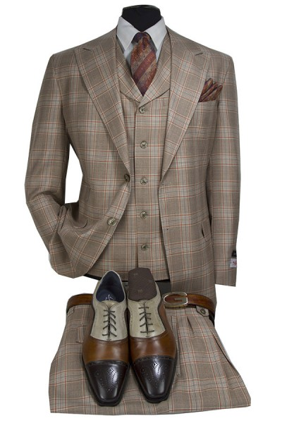 Tiglio 3 Piece Suit - Amaro - Tan / Cognac Plaid a