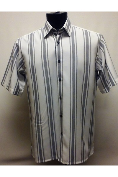 Bassiri S/S Button Down Men's Shirt - Blue Stripe