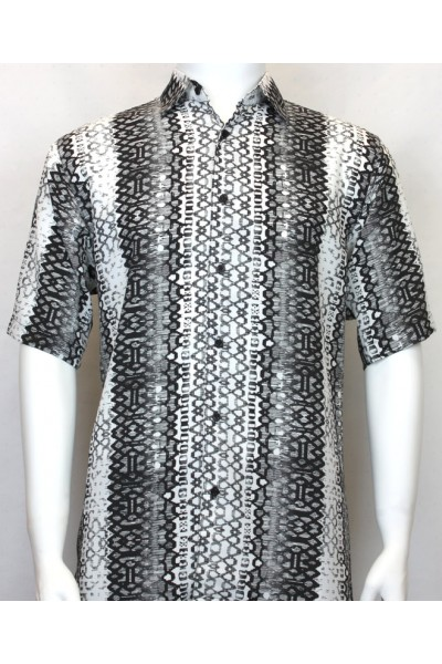 Bassiri S/S Button Down Men's Shirt - Pattern Stripe Black