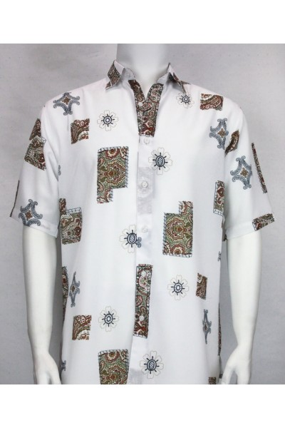 Bassiri S/S Button Down Men's Shirt - Pattern Blocks / White