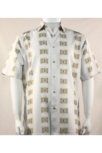 Bassiri S/S Button Down Men's Shirt - Gold Stripe Pattern