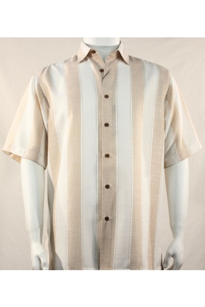 Bassiri S/S Button Down Men's Shirt - Tan Stripe
