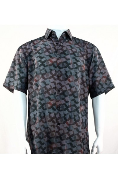 Bassiri S/S Button Down Men's Shirt - Circle Print Charcoal