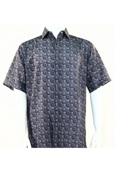 Bassiri S/S Button Down Men's Shirt - Multi Dot Gray