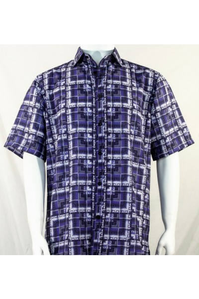 Bassiri S/S Button Down Men's Shirt - Greek Key / Purple