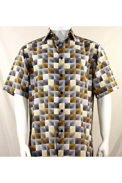 Bassiri S/S Button Down Men's Shirt - 3D Squares / Gold