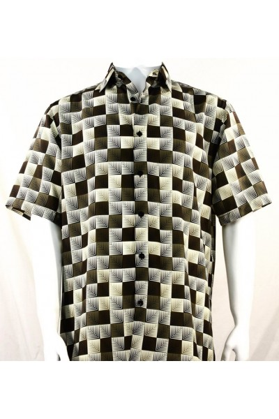 Bassiri S/S Button Down Men's Shirt - 3D Squares / Dk Brown