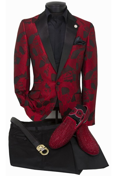 Men's Blazer by Suslo Couture - Red Foil Pattern b
