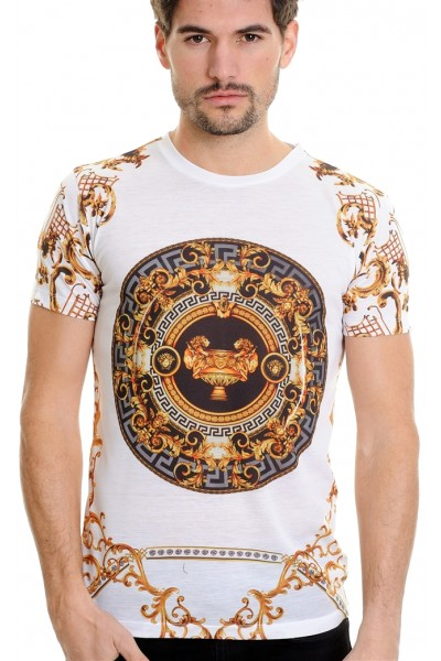 LCR Black Edition S/S Knit- White / Gold Abstract Pattern