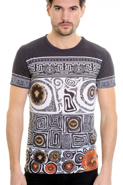 LCR Black Edition S/S Knit- Black / White Geometric Pattern
