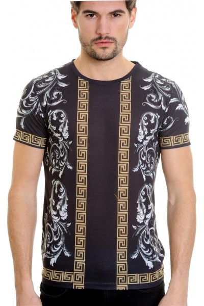 LCR Black Edition S/S Knit- Black / Gold Geometric Pattern