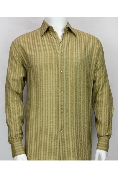 Bassiri L/S Button Down Men's Shirt - Lt Khaki Shadow Stripe