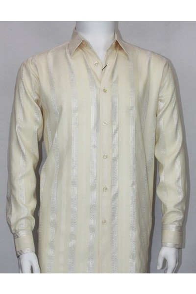Bassiri L/S Button Down Men's Shirt - Cream Shadow Stripe