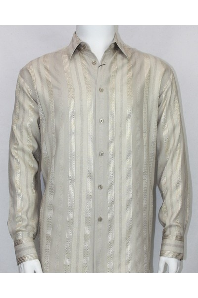 Bassiri L/S Button Down Men's Shirt - Taupe Shadow Stripe