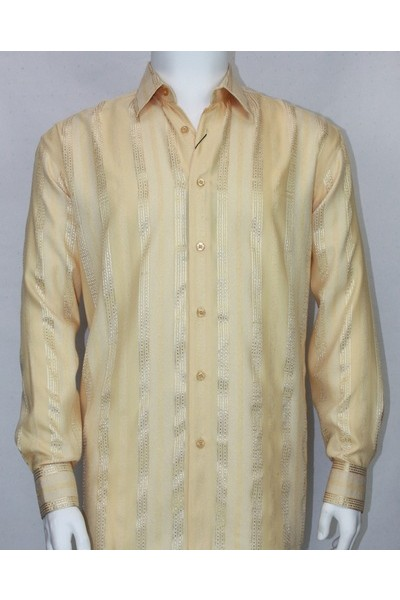 Bassiri L/S Button Down Men's Shirt - Gold Shadow Stripe