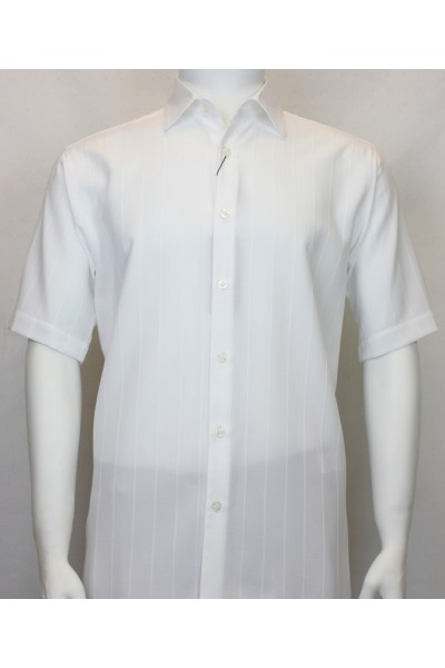 Bassiri S/S Button Down Men's Shirt - Shadow Stripe White
