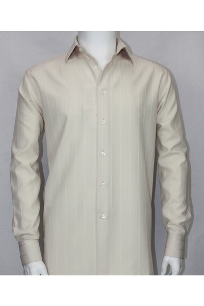 Bassiri L/S Button Down Men's Shirt - Lt Taupe Shadow Stripe