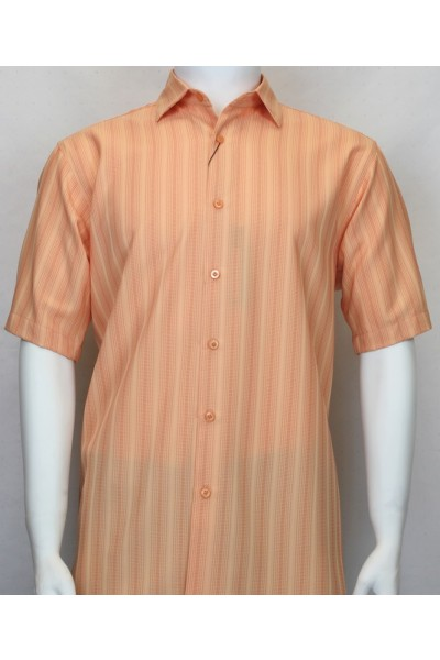 Bassiri S/S Button Down Men's Shirt - Shadow Stripe Coral