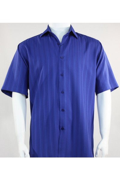 Bassiri S/S Button Down Men's Shirt - Shadow Stripe Blue