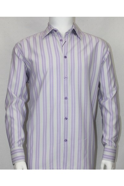 Bassiri L/S Button Down Men's Shirt - Lt Lav Shadow Stripe