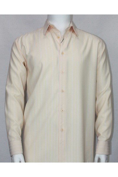 Bassiri L/S Button Down Men's Shirt - Cream Shadow Pinstripe