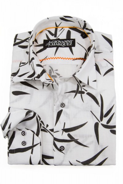 Giovanni Marquez Sport Shirt- White with Black Leaves