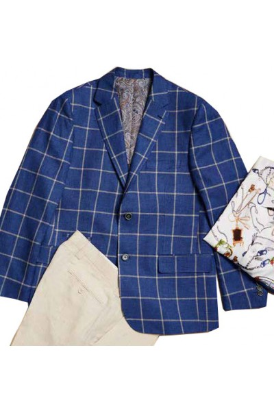 Men's Linen Blazer by Inserch / Merc -  Summer Navy Check a