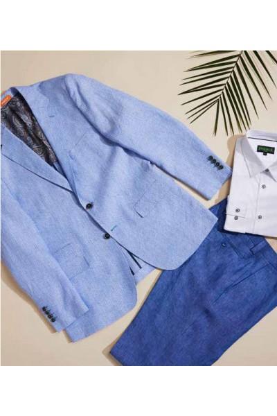 Men's Linen Blazer by Inserch / Merc - Lt Blue a
