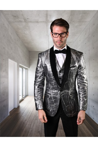 Men's Suit - Modern Fit - Abstract / Silver Velvet