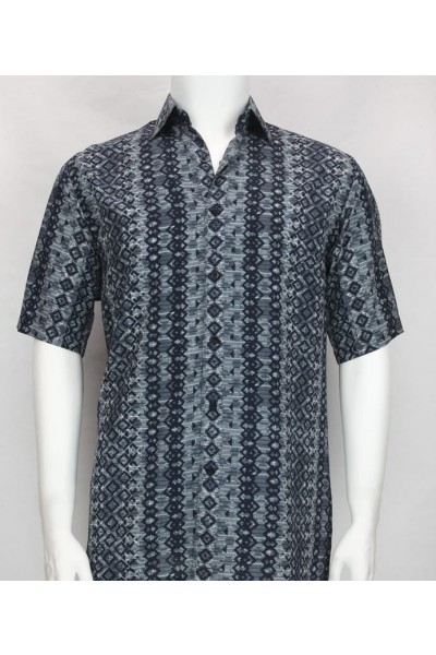 Bassiri S/S Button Down Men's Shirt - Diamonds Pattern Blue