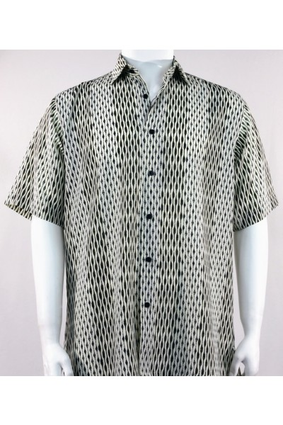 Bassiri S/S Button Down Men's Shirt -  Black / Pattern