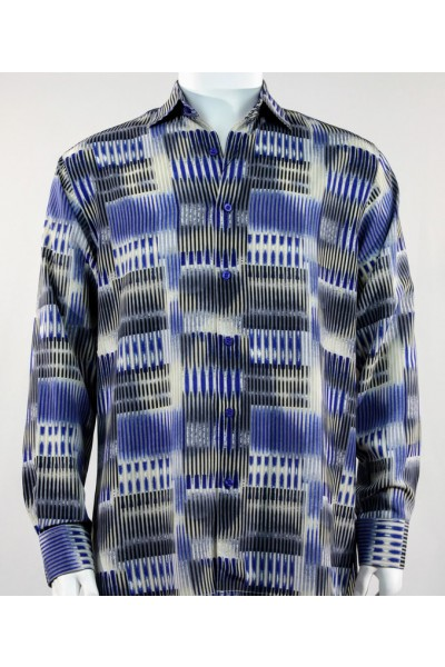 Bassiri L/S Button Down Men's Shirt - Blue Block Stripe  *NEW*