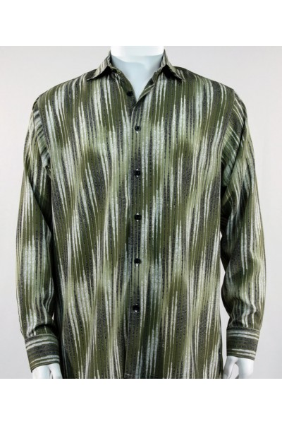 Bassiri L/S Button Down Men's Shirt - Multi Stripe Pattern Olive  *NEW*