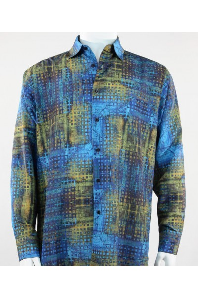 Bassiri L/S Button Down Men's Shirt - Blue/ Gold Pattern  *NEW*
