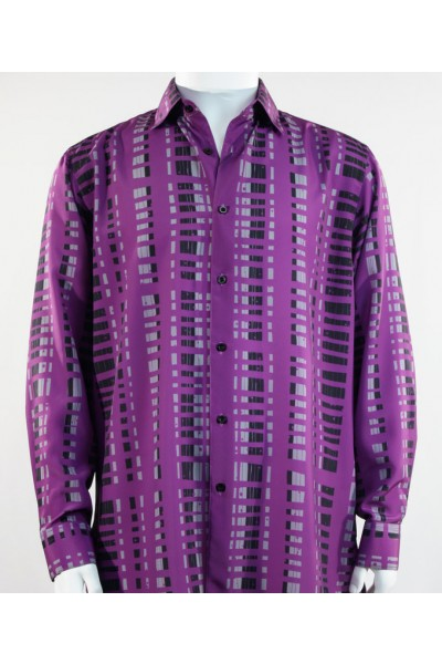 Bassiri L/S Button Down Men's Shirt - Crossed Pattern Purple *NEW*