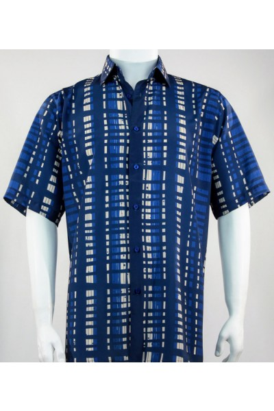 Bassiri S/S Button Down Men's Shirt -  Blue Rectangles Pattern