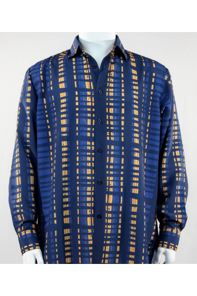 Bassiri L/S Button Down Men's Shirt - Crossed Pattern Blue *NEW*