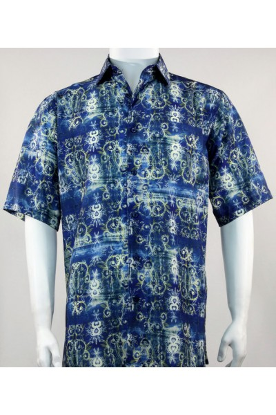 Bassiri S/S Button Down Men's Shirt - Pattern / Blue