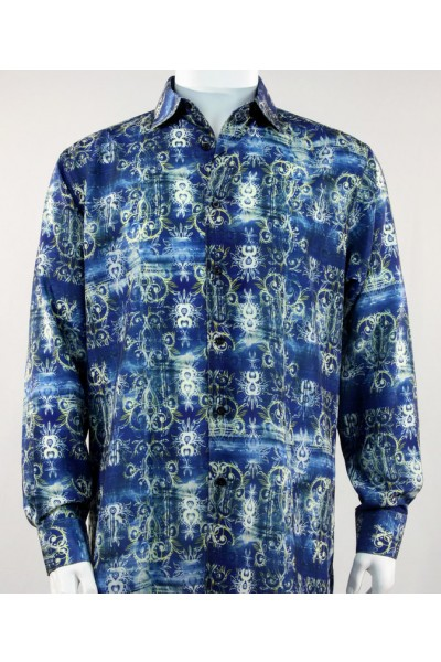 Bassiri L/S Button Down Men's Shirt - Plant Pattern Blue *NEW*