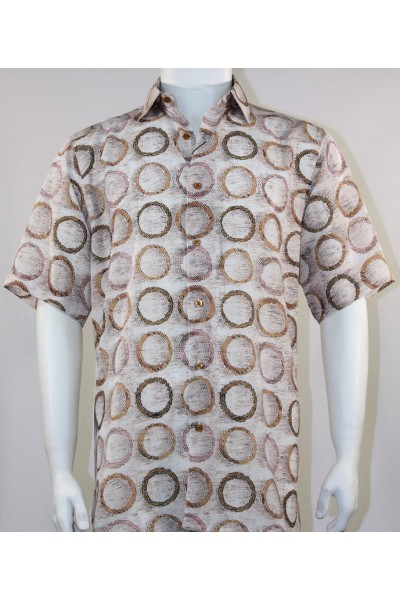 Bassiri S/S Button Down Men's Shirt - Circles / Brown