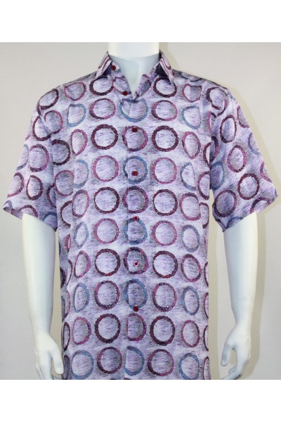 Bassiri S/S Button Down Men's Shirt - Circles / Purple
