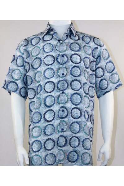 Bassiri S/S Button Down Men's Shirt - Circles / Blue