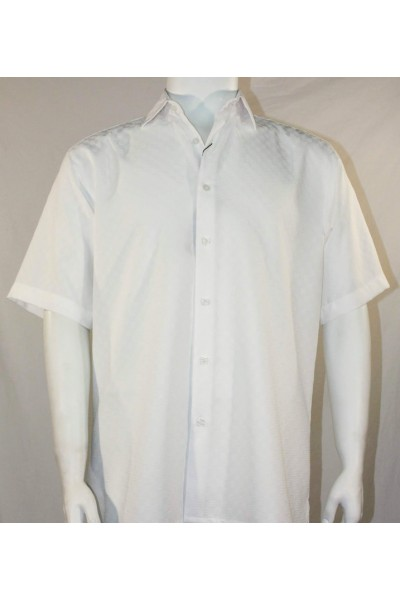 Bassiri S/S Button Down Men's Shirt - Shadow Squares White