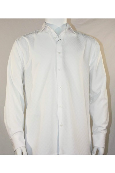 Bassiri L/S Button Down Men's Shirt - Shadow Squares White *NEW*