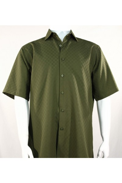 Bassiri S/S Button Down Men's Shirt - Shadow Squares Dk Olive