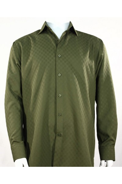 Bassiri L/S Button Down Men's Shirt - Shadow Squares Olive *NEW*