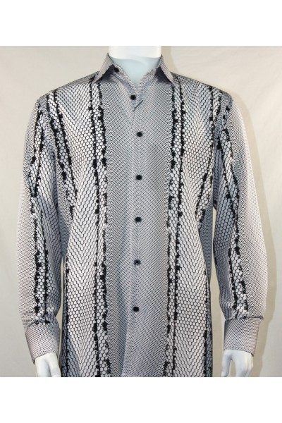 Bassiri L/S Button Down Men's Shirt - Varied Pattern B/W