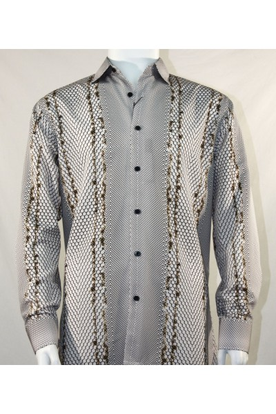 Bassiri L/S Button Down Men's Shirt - Varied Pattern Brown