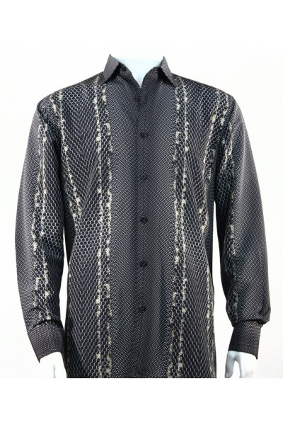 Bassiri L/S Button Down Men's Shirt - Varied Pattern Black Tan